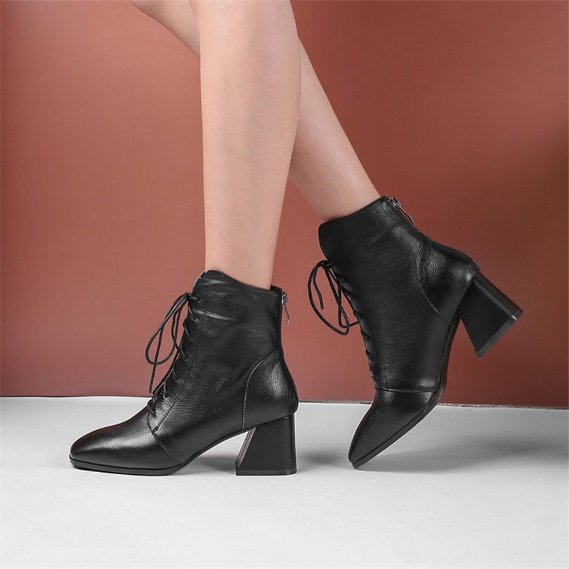 Laddy Office Shoes Women Lace Up Genuine Leather Ankle Boots Square Toe Chunky High Heels Punk Winter Party Pumps Casual Shoes in Women 39 s Pumps from Shoes