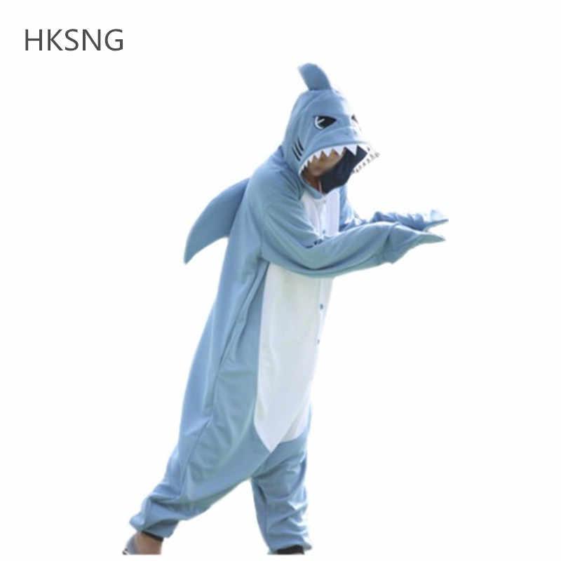 419b923ef HKSNG New Light Blue Shark Kigurumi Onesies Pajamas High Quality Animal  Winter Warm Fleece Adult Family