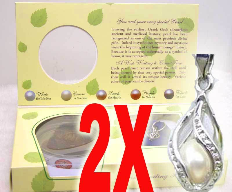 Popular Gift SALE Wholesale 2X Boxes helix(drop) pendant Wish Pearl Necklace gift set A wish waiting come true-who120_2