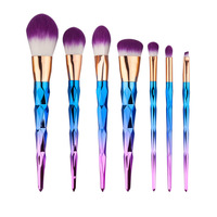 7pcs Set Rainbow Hair Diamond Cosmetic Makeup Brushes Set Foundation Eye Shadow Blusher Powder Unicorn Blending