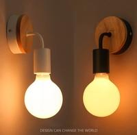 Modern Minimalist Wall Lamp Nordic Style Wood Metal Spray Painting Process 90 260V E27 Holder Bedroom Restaurant Study Lighting