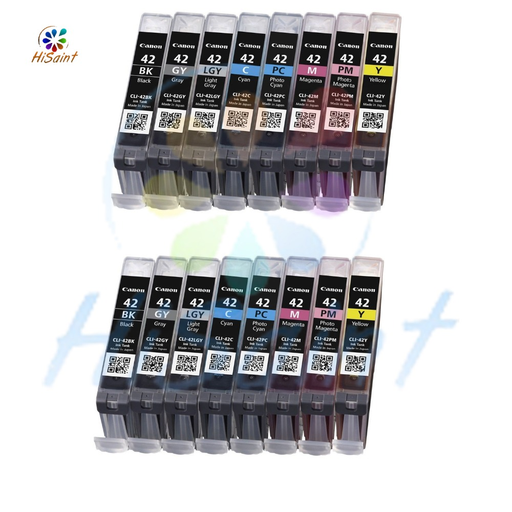 Free shipping 2016 New [Hisaint] 2Set Compatible for Canon CLI-42 ink cartridges For Canon PIXMA Pro 100