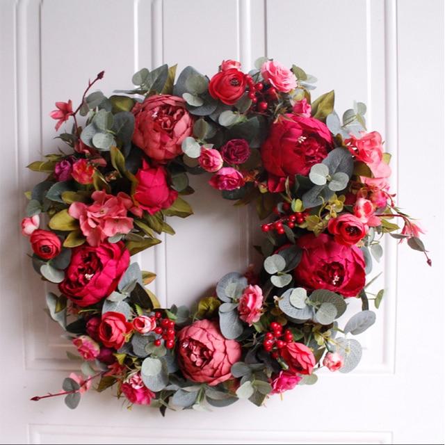 Autumn Peony Wreath Christmas Wreath Red Door Wreath Wall Hanging Garland Ornaments Wall Cumplea Os Decorations Farmhouse