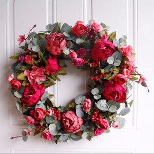 Image 1 - Corona de peonías de otoño, guirnalda de Navidad, guirnalda de puerta roja, adornos de guirnaldas colgantes de pared, decoraciones de pared, casa de campo