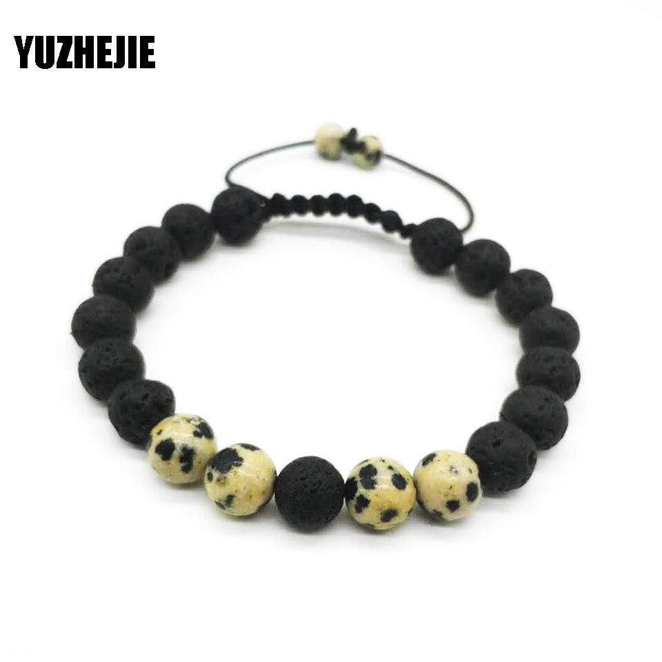 YUZHEJIE Wholesale Black Volcanic Lava Stone Tiger Eye Spar 8mm Beaded bracelet For Men Fashion personality Jewelry
