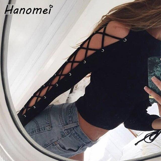 Nueva Harajuku Sexy Lace Up Mujeres Camisetas Ahuecan Hacia Fuera de La Manga Femenina camiseta 2017 Negro Camiseta Delgada Vendaje Femme Sólido Tees C46