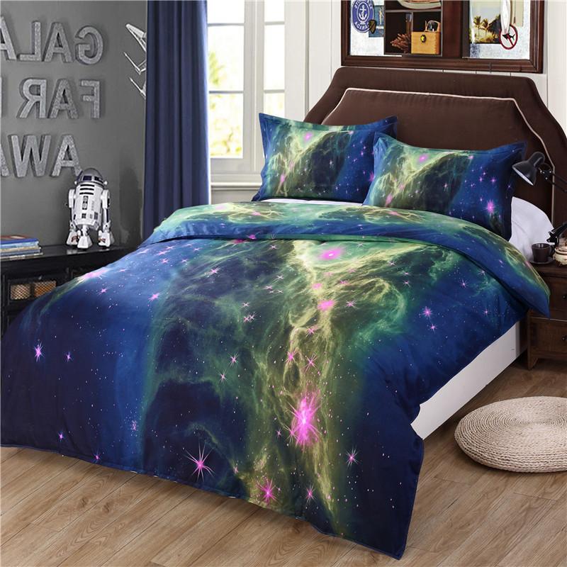 iDouillet 3D Nebala Outer Space Star Galaxy Bedding Set 2/3/4 pcs Duvet Cover Flat Sheet Pillowcase Queen Twin Size 27