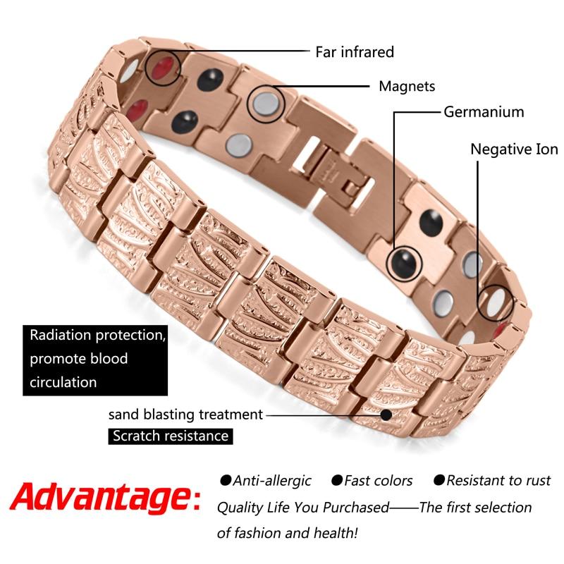 HTB1i4QgRVXXXXbdXFXXq6xXFXXXe - RainSo Titanium Magnetic Bracelets & Bangle 2 Row Health Care Elements Germanium Healing Bracelet Health Hologram Wristbands