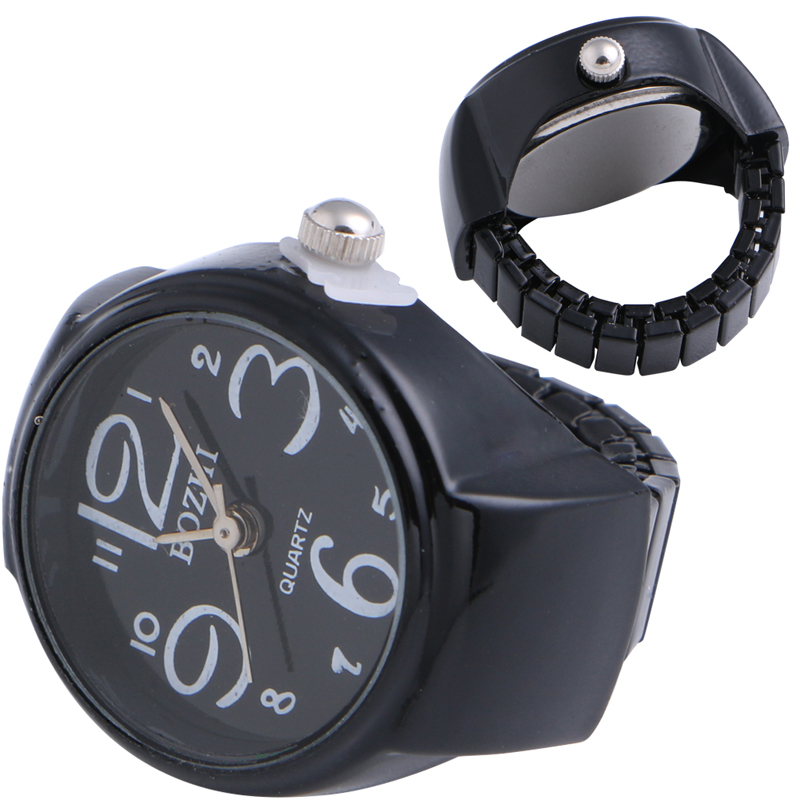 JAVRICK Unisex Finger Watch Round Metal Creative Numerals Ring Table Quartz 22MM