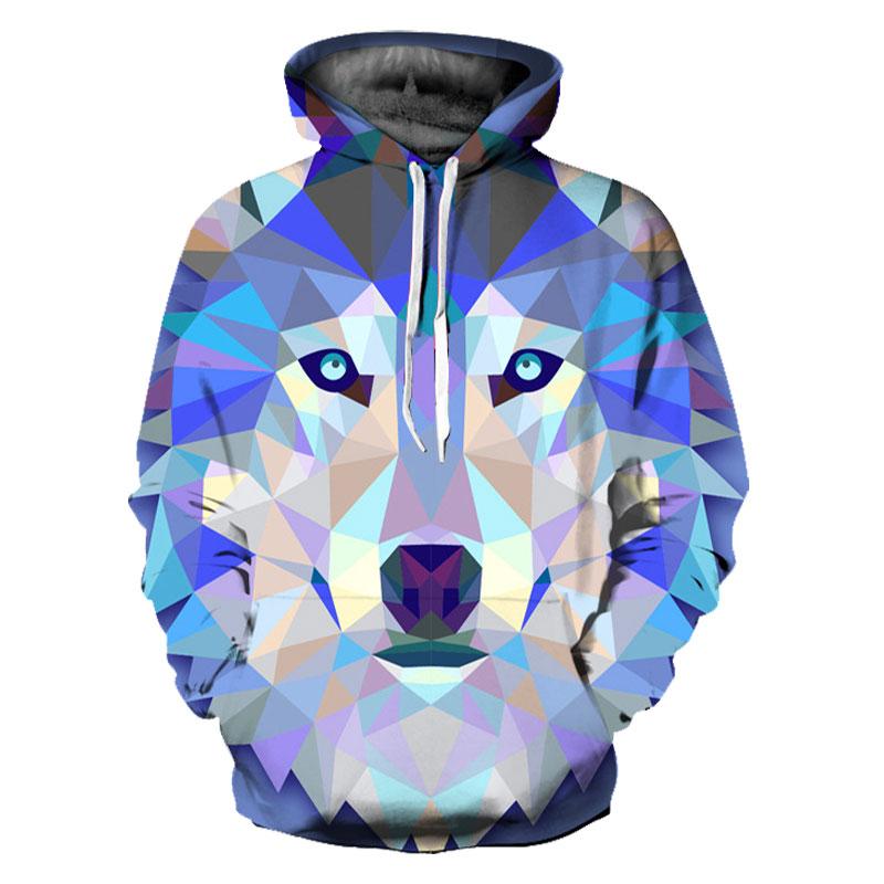 Headbook New Fashion Wolf Hoodies Women/Men Thin 3d Sweatshirts With Hat Print Colorful Blocks Wolf Hooded Hoodies YXQL239