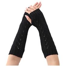 Women's Crochet Long Fingerless Gloves with Thumb Hole (1-hollow Black,Coffee,Dark Grey,Light Grey)