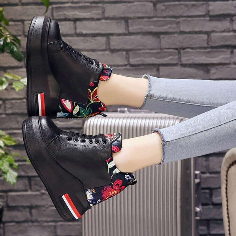 WGZNYN Summer Women High Platform Shoes Height Increasing Ladies Sneakers Spring Trainers Pu Leather Shoes woman Casual Shoe W55 3