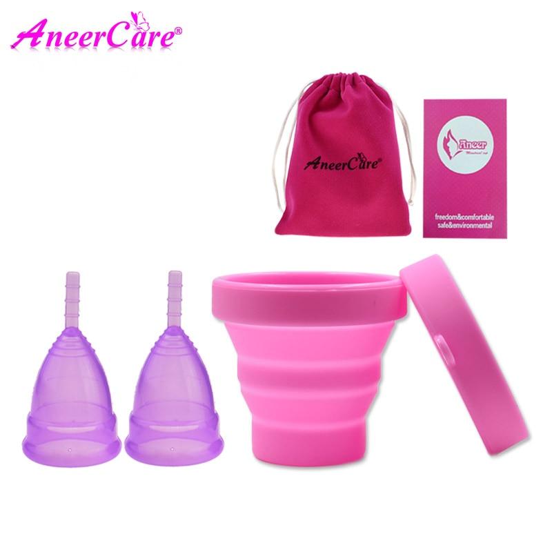 купить 2 pcs menstrual cup sterilizer lady period cup copa menstrual de silicona medica coppetta mestruale menstrual collector vagina недорого