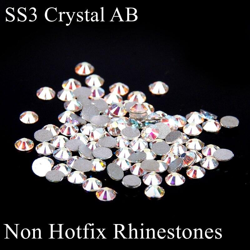 Non Hotfix Glass Rhinestones ss3 1.2-1.4mm White Crystal AB Glitter Micro Nails  Art 73f7b8dfd168