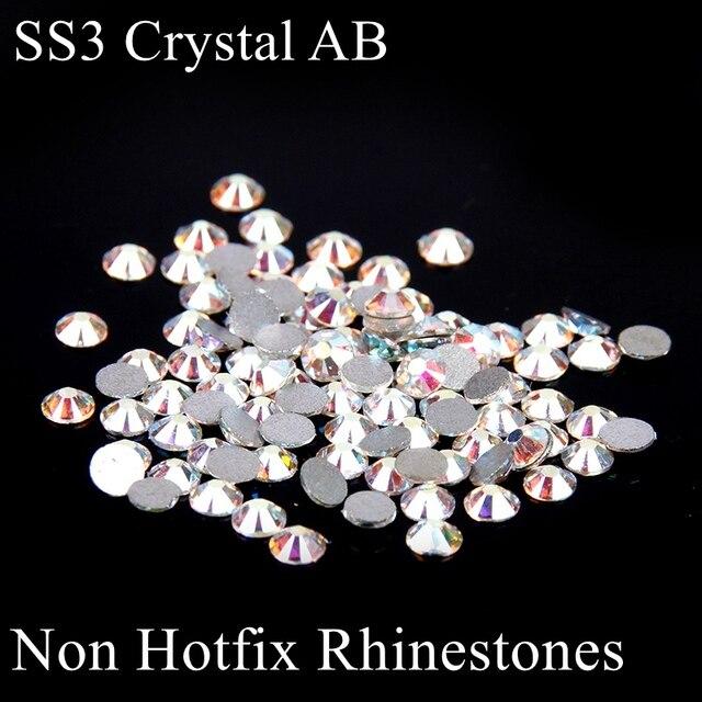 Non Hotfix Glass Rhinestones ss3 1.2-1.4mm White Crystal AB Glitter Micro  Nails Art 3dae1504f7dd