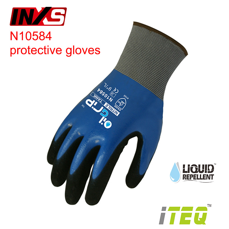 SAFETY-INXS N10584 mechanic gloves waterproof oil-proof Operating gloves Wear-resistant Non-slip EC Certification working gloves oil free comfortable cheap nitrile gloves white nylon knitted hands protection gloves white mechanic construction industry