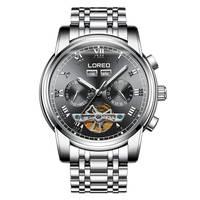 LOREO 6108 немецкие часы мужские Скелетон турбилон автоматические механические модные мужские часы полые светящиеся mechanique
