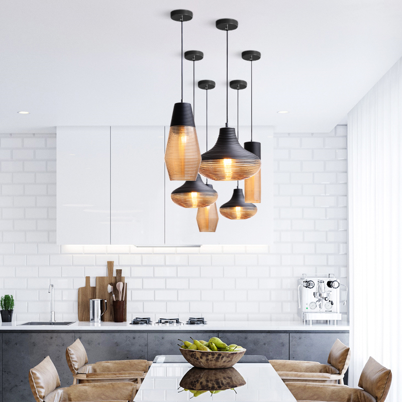 Nordic LED Pendant Lights Glass Pendant Lamps Vintage HangLamp Living Room Bedroom Loft Industrial Home Decor Kitchen Fixtures in Pendant Lights from Lights Lighting