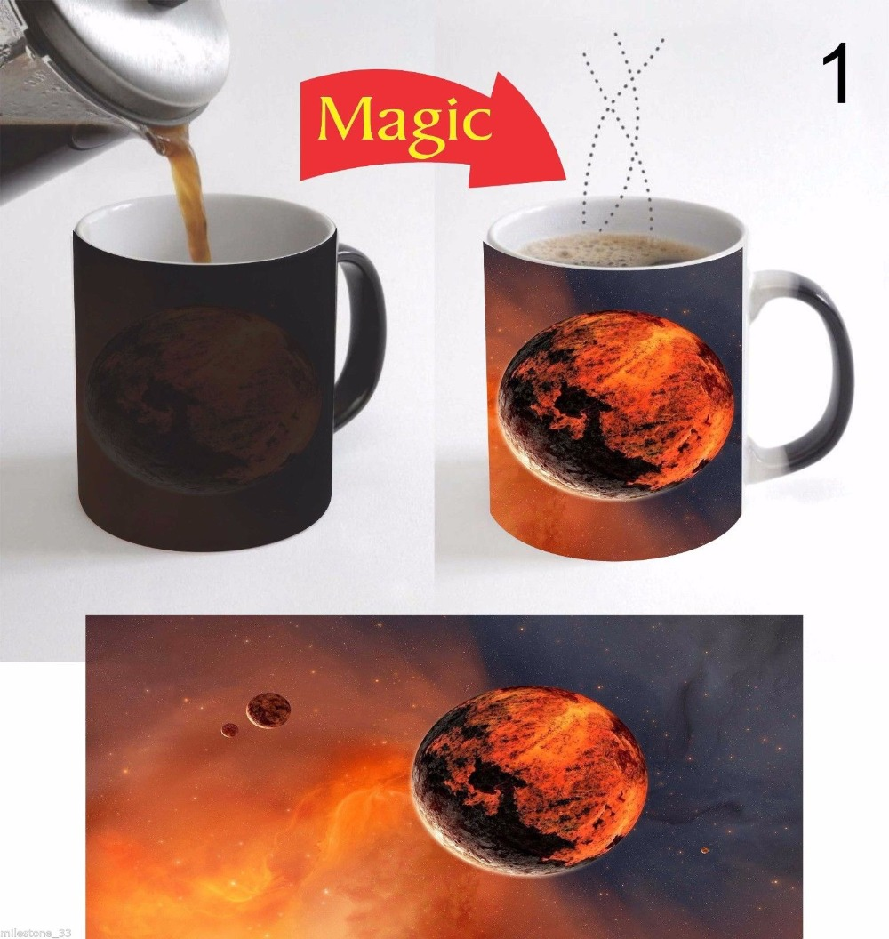 MARS The Red Planet mugs heat changing color coffee mug heat transfer Ceramic Tea art porcelain mugs