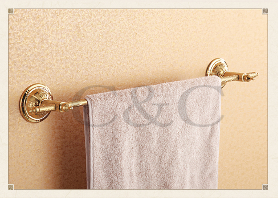 100% Quality Assurance Towel Rail Noble And Elegant Solid Brass Gold Plating Single Bathroom Towel Bar 1201