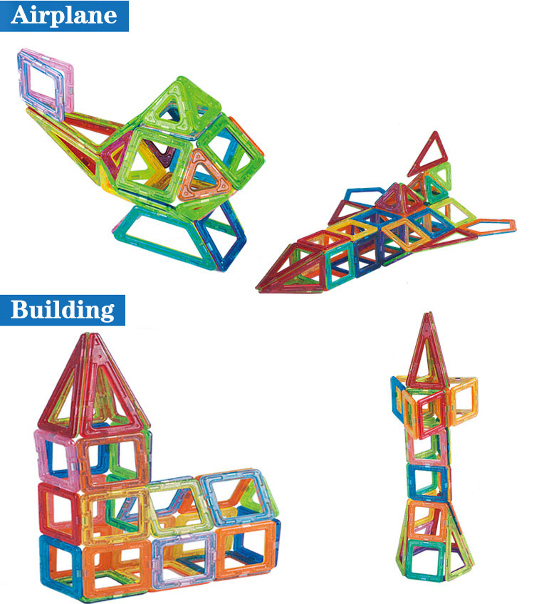 Magnetic Building Blocks Airplane and Building 3d model