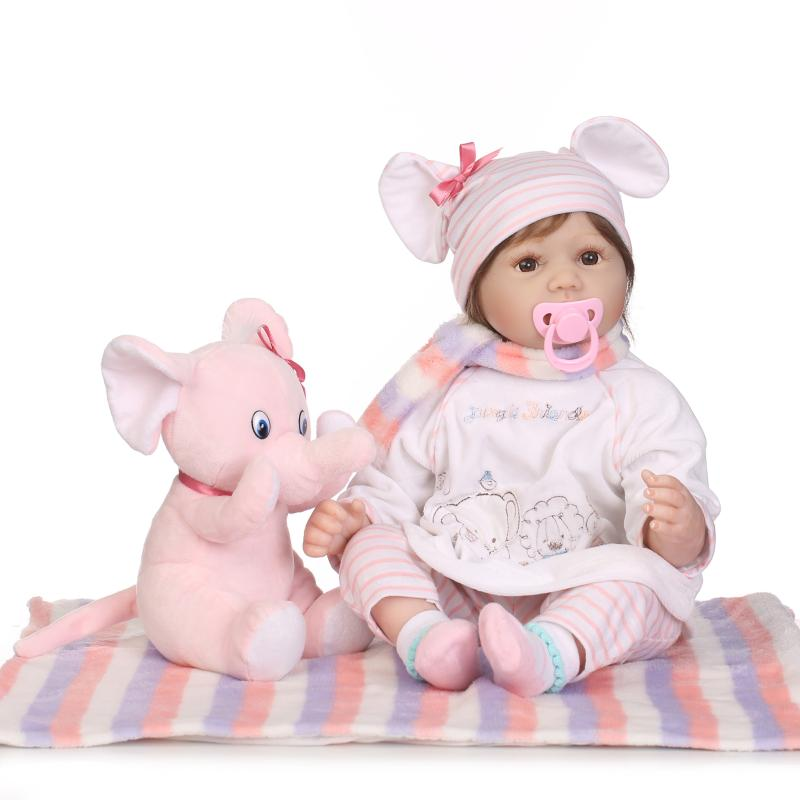 Cute 55cm Soft Silicone Reborn Baby Doll Toys Lifelike Play House Newborn Bebe Girl Babies Brithday Gift Bedtime Toy npkcollection 55cm silicone reborn baby doll toys lifelike newborn bebe girl doll birthday gift bathe play house bedtime toy