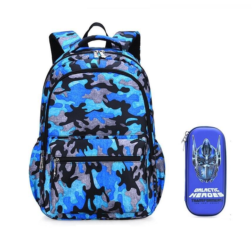 2 Teile/satz Wasserdichte Camouflage Schule Rucksack Für Junge Kinder Stift Tasche Bleistift Fall Jungen Schule Taschen Bookbag Rucksäcke Für Kinder
