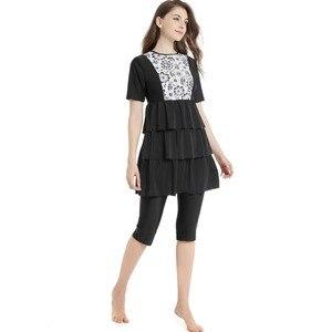 Image 2 - New Islamic Swimwear For Women Plus Size Modest Hijab Musulman Swimsuit Push Up Short Sleeve Burkinis Muslim Swimwear