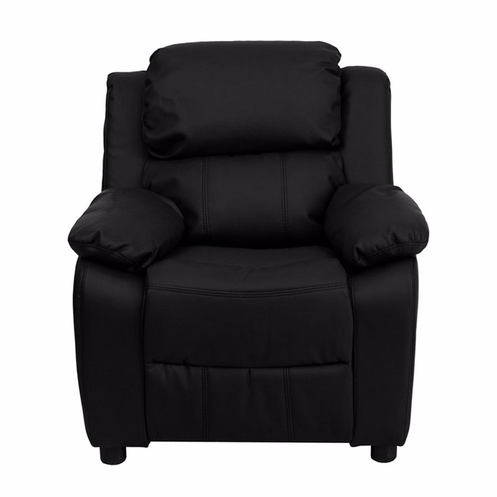 Flash Furniture Deluxe Heavily Padded Contemporary Black Leather Kids Recliner with Stor ...