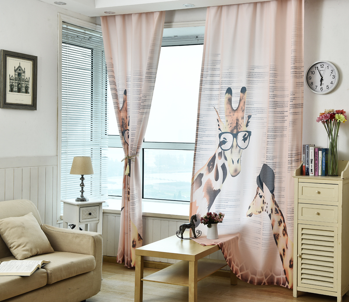 Korean Rural Curtains for Living Room Bedroom Custom Digital Giraffe Zebra Curtain Small Fresh Living Room Study Curtain Fabric