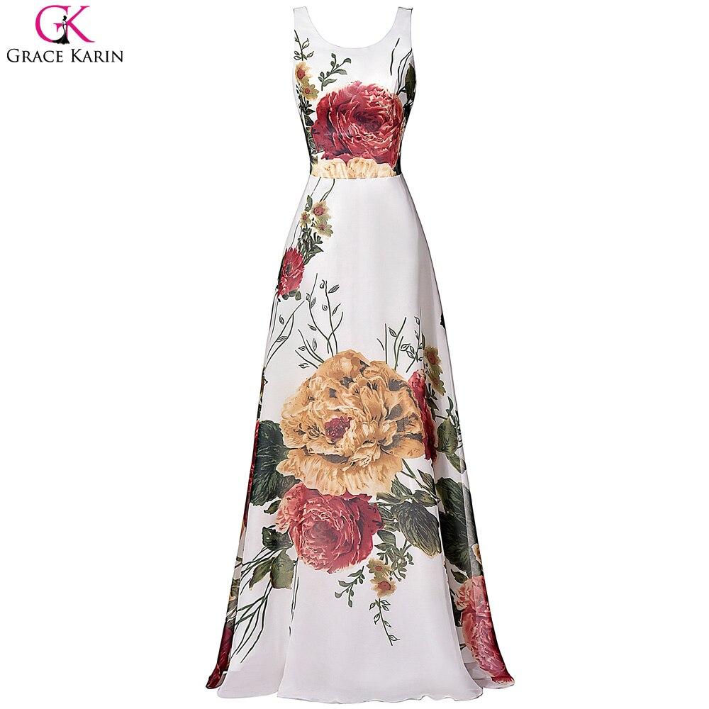 thepron.ru Gracia Karin Vestido de Fiesta Sin Mangas Floral Impresión de La Gasa de  Largo Formal de