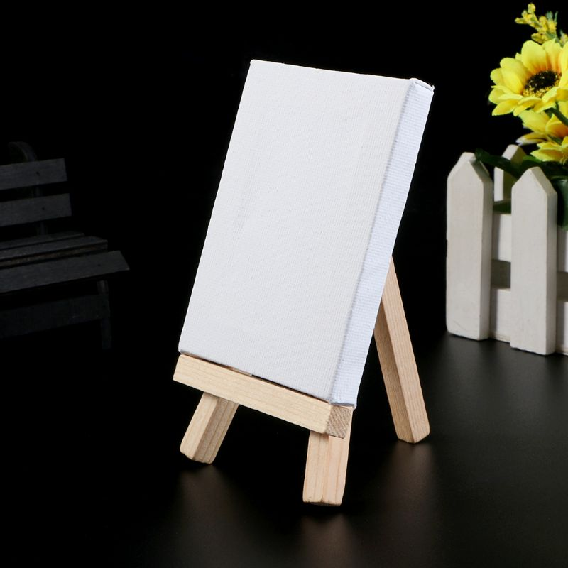 7x7cm Mini Natural Wood Cotton Easel Frame Display Holder For Art Painting Wedding Party Craft