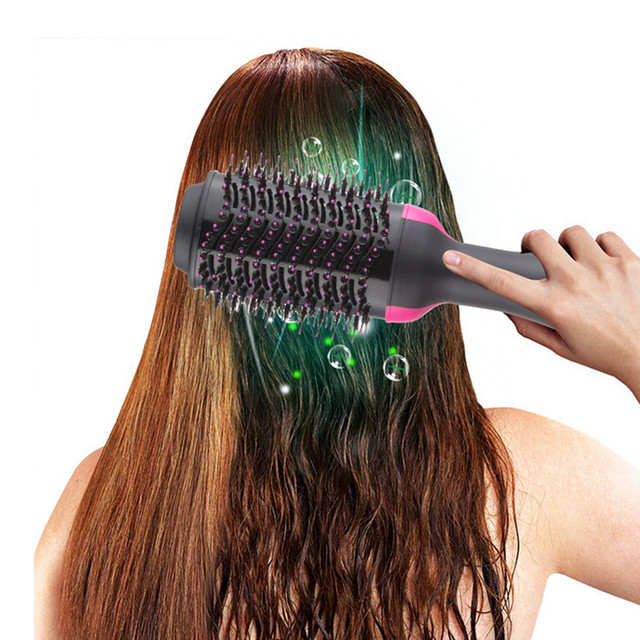 Dropshipping Electric Heating Comb Hair Straightener Curler Professional Salon One Step Dry/Wet Two Use Hair Dryer Massage Brush