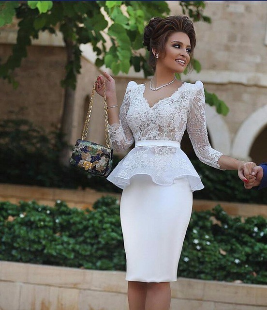 New Arrival Sex Fashion White Knee Length Lace Cocktail Dresses V Neck 3/4 Sleeves Appliques Women Formal P Party Dress