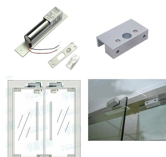 ФОТО Free shipping ,lock kit ,2 Core Low Temperature Electric Bolt Lock +bracket ,used for frameless glass door,sn:kit-800s ,min:1lot