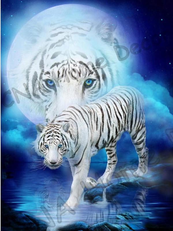 타이거 풀 드릴 모자이크 5D Diy 다이아몬드 자수 그림 수지 동물 3D 크로스 스티치 키트 객실 장식 스티커 공예