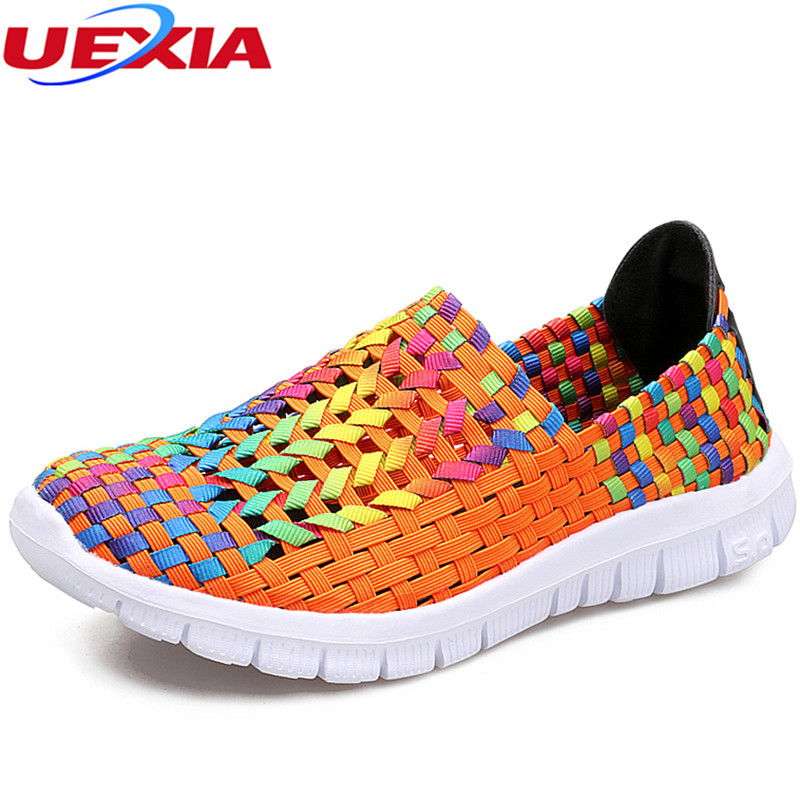 UEXIA Lightweight Women Shoes 2018 Summer Breathable Fashion Loafers Lady's Casual Shoes Girls Handmade Women Woven Shoes Flats instantarts women flats emoji face smile pattern summer air mesh beach flat shoes for youth girls mujer casual light sneakers