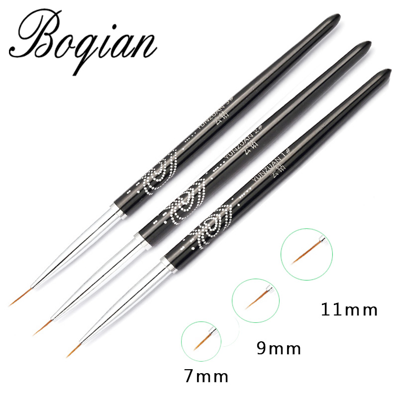 BQAN 7/9/11mm Nail Art Line Painting Brushes Crystal Acrylic Thin Liner Drawing Pen Manicure Tools UV Gel