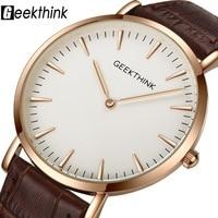 GEEKTHINK 2018 New Arrived Ultra Slim Men S Trend Genuine Leather Strap Quartz Watch Waterproof Wristwatch
