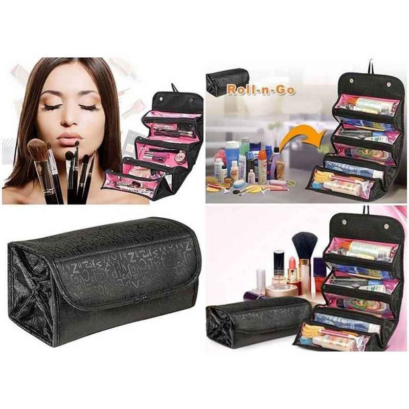 95b05b2196 2018 Travel Roll-up Cosmetic Makeup Case Foldable Organizer Pouch Hanging  Toiletry Wash Bag Storage