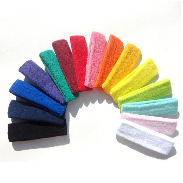 Women/Men Cotton Sweat Sweatband Headband Yoga Gym Stretch Head Band For Sport Belts Elasticity Sweat Bands Sports Safety 2