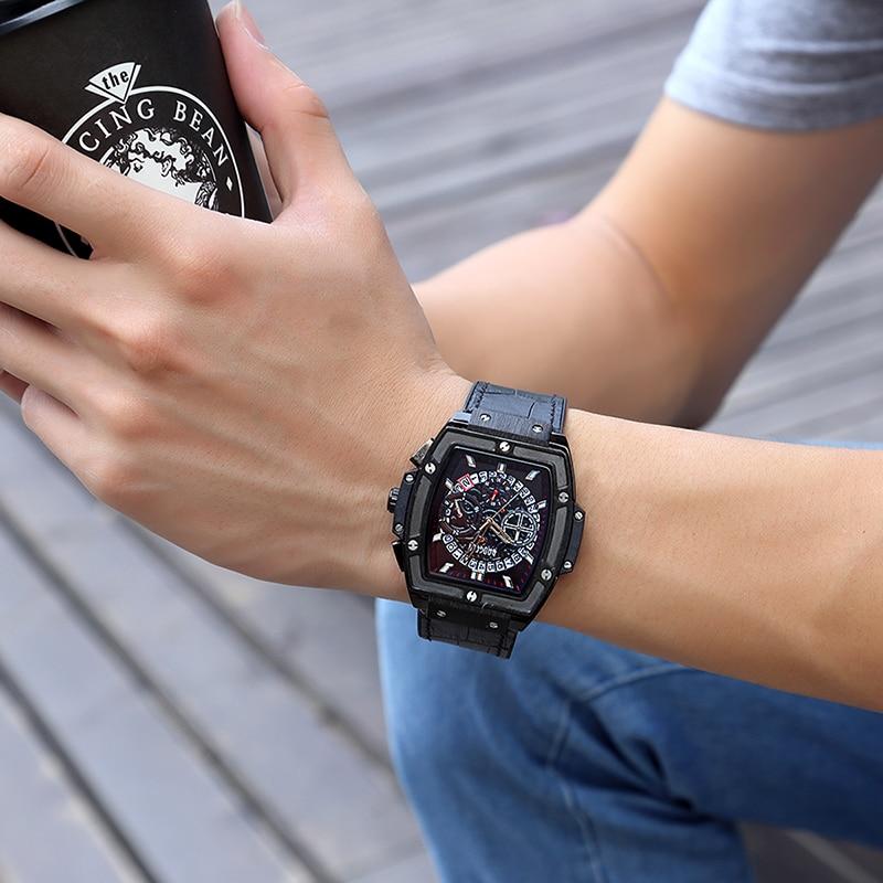 Baogela Chronograph Uhr Herren Sport Quarz Armbanduhren Leder Luxus Marke Datum Anzeige Wasserdichte Armbanduhren Für Männer
