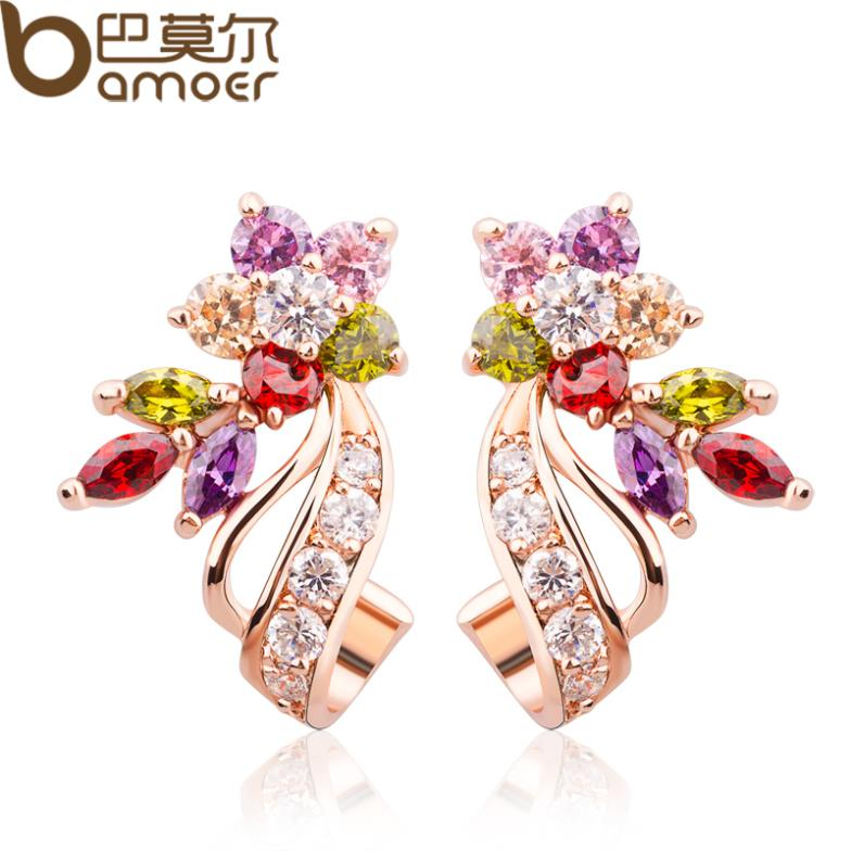 Bamoer Gold Color Flower Oversized Stud Earrings With Multicolor Aaa Zircon Stone Birthday Gift Jewelry Jie019 In From