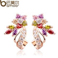 Gold Color Flower Big Stud Earrings