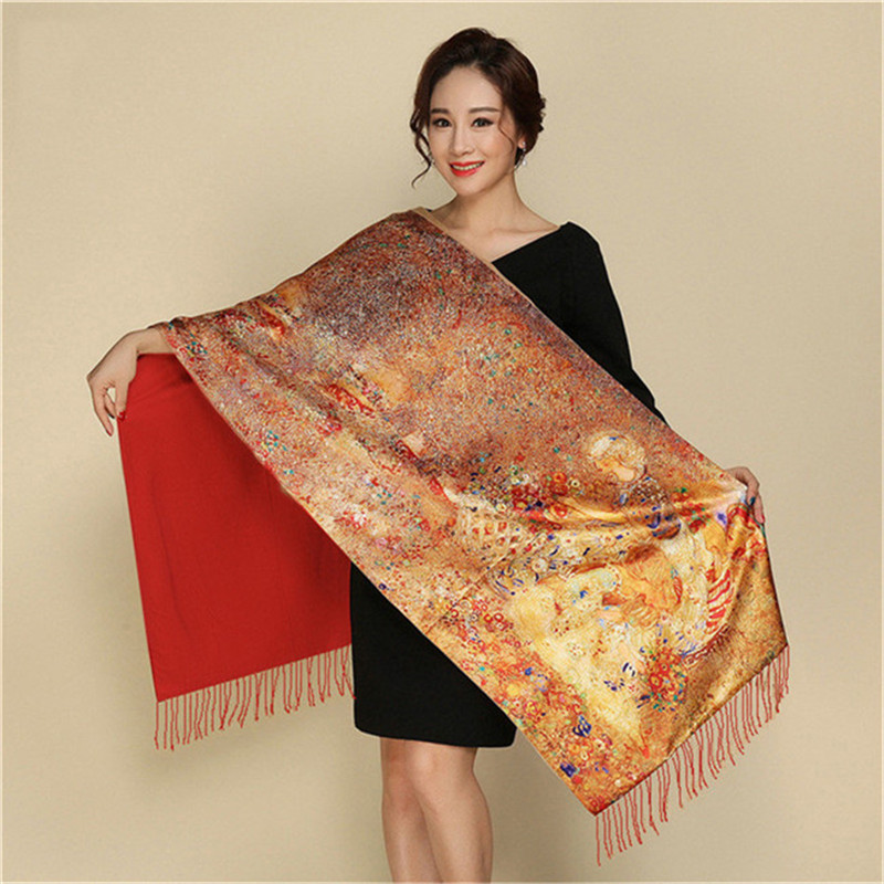 LaMaxPa 2019 New Fashion Winter Warm Pashmina For Women Flower Scarves Silk Cashmere National Long Tippet Print Shaw And Wraps