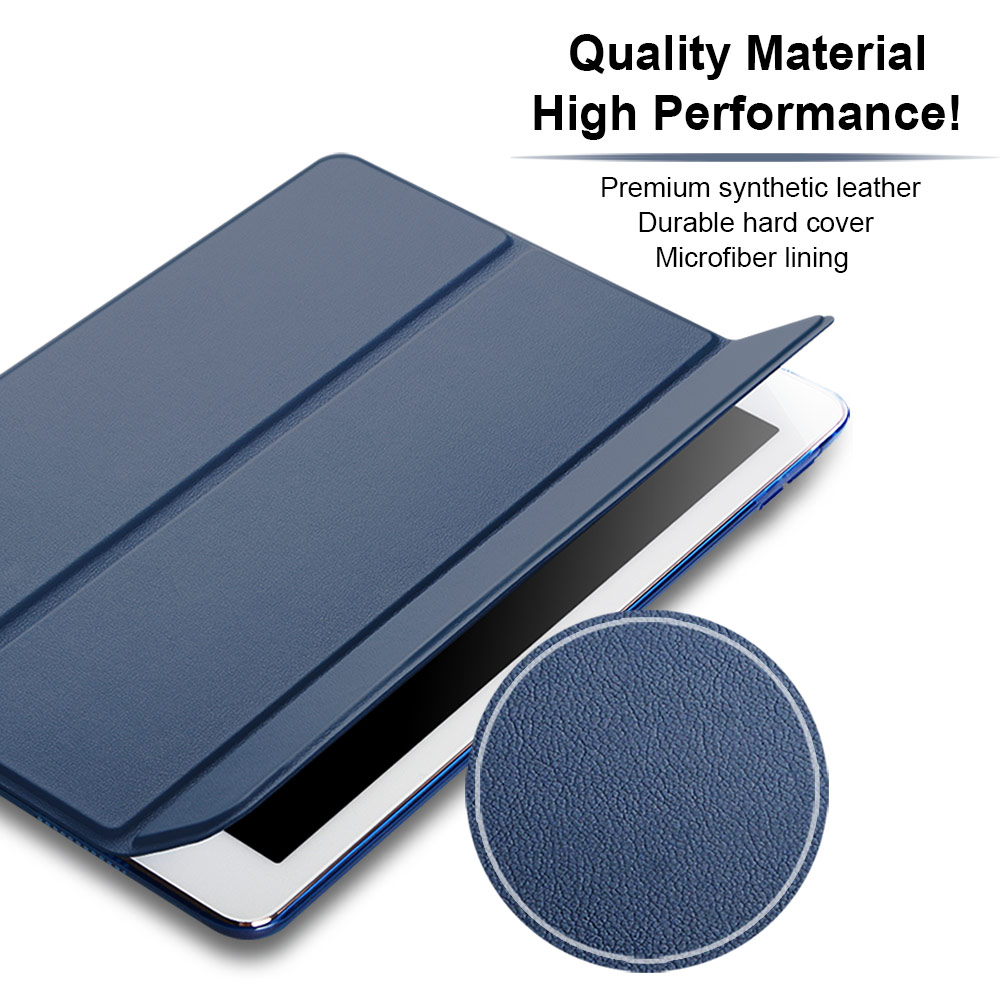 2017 New Case For Ipad Pro 10.5 Inch PU Leather Front Cover + Transparent PC Back Ultra Slim Lightweight Tri Fold Smart Case