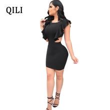 QILI Women Party Dress Black Red Ruffles Short Sleeve Hollow Out Mini Dresses Sexy Backless Club Vestidos Female