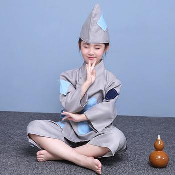Ancient Beggar Costume Children Performance Clothing Hanfu Suit The Living Buddha Broken Beggar Begging Clothing Stage Costume