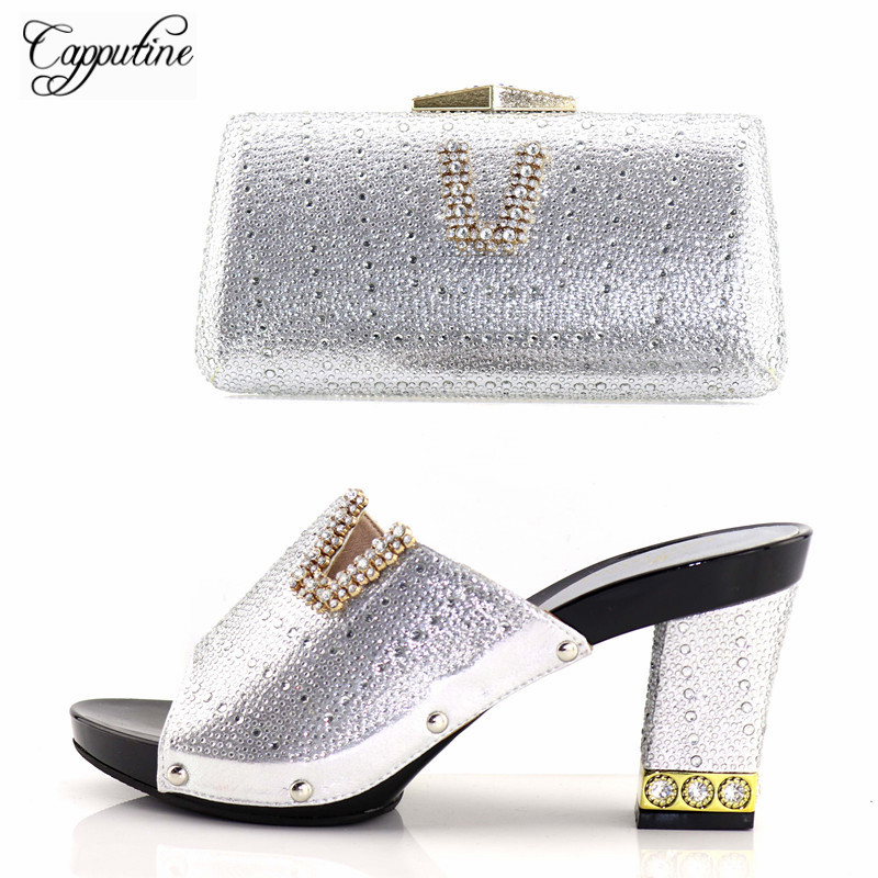 Capputine Italian Desgin PU Leather Woman Shoes And Bags Set New African High Heels Shoes And HandBag Set For Party Size 37-43 capputine european style elegant rhinestone shoes and bags set african style woman high heels shoes and bags for wedding party