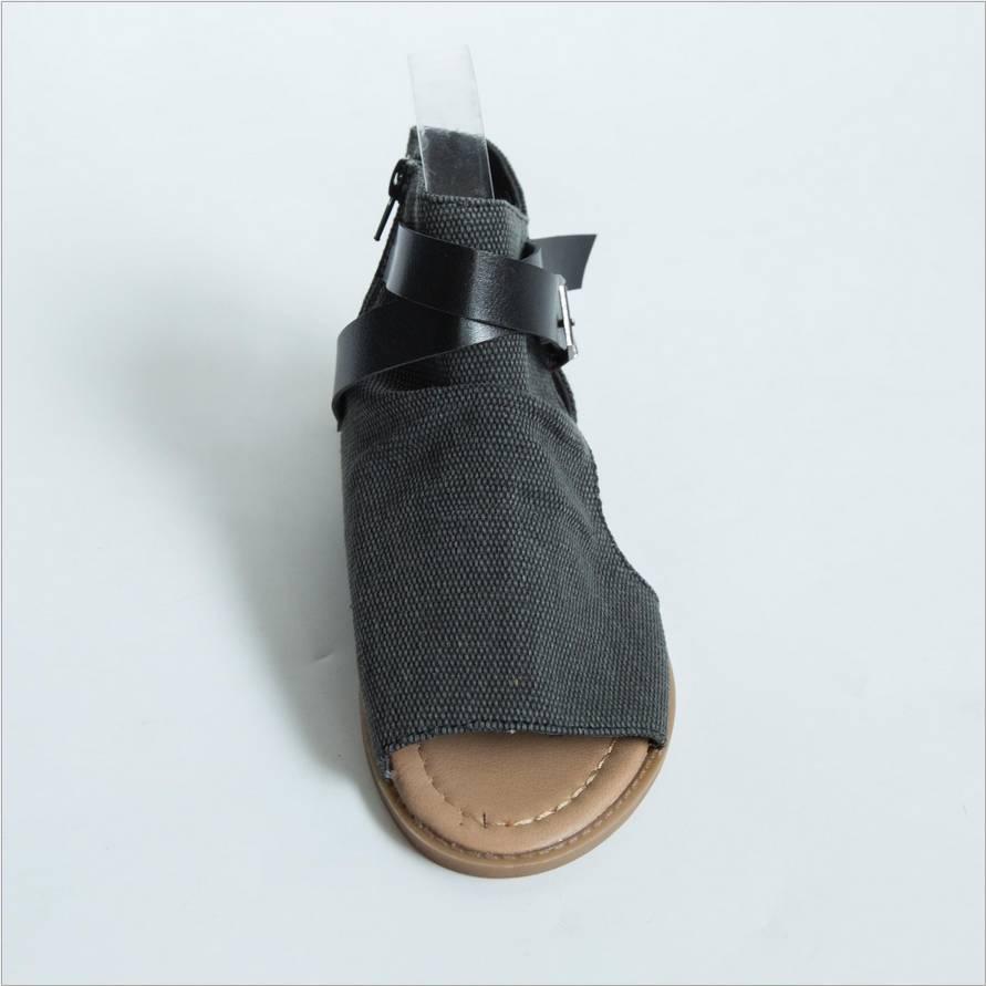 Flops Bout up Casual Peep Flip 2018 Sandales Toe D'été Plage À Zipper Ouvert Noir Dentelle marron Appartements Toile Femmes Chaussures gris M117 qg8gPxwTn